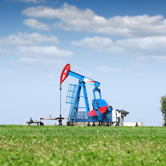 """""""oil pump jack on field"""" stock image"""