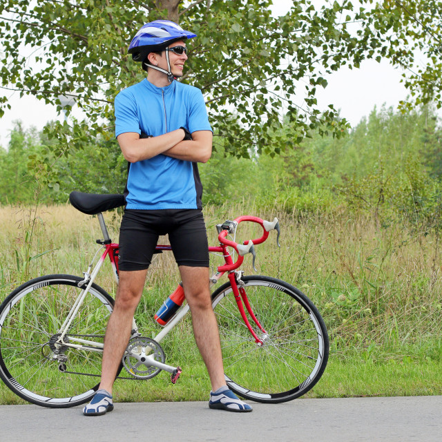"""""""male cyclist with race bike"""" stock image"""
