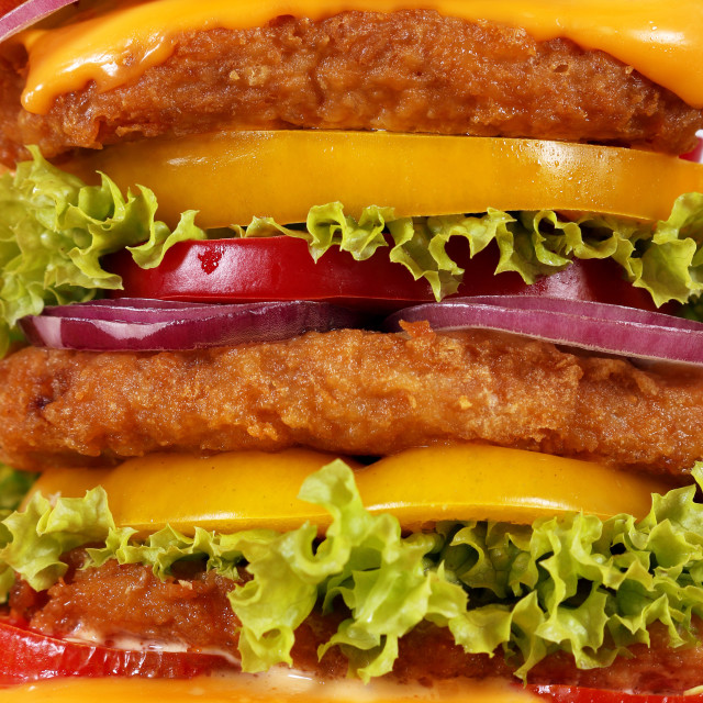 """big hamburger closeup food background"" stock image"