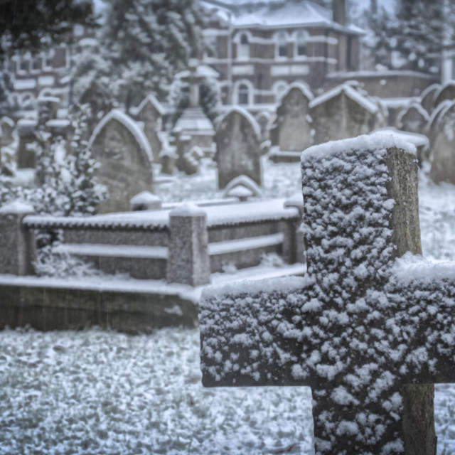 """Graveyard in the Snow"" stock image"