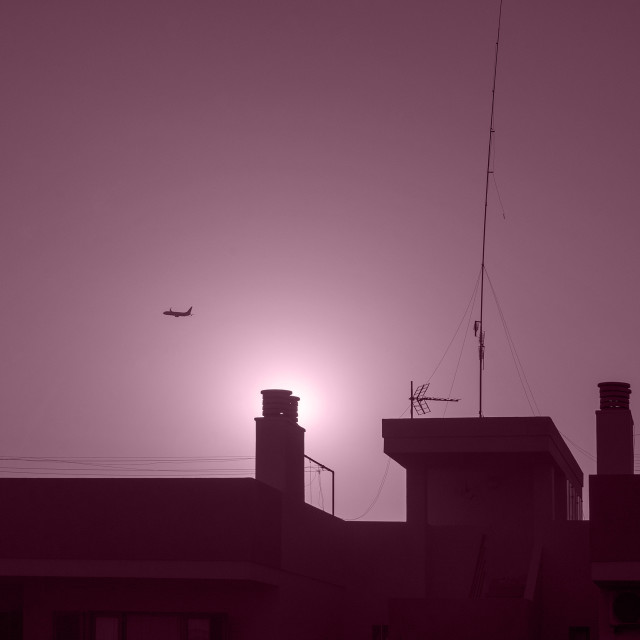 """Abstract purple view airplane"" stock image"