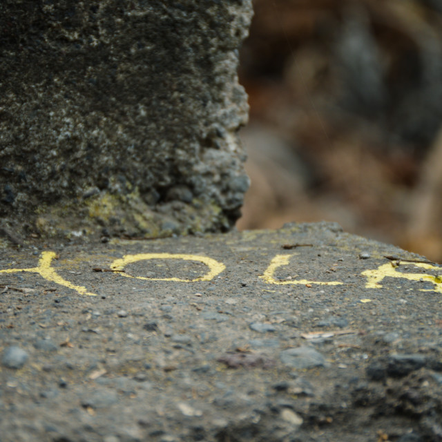 """""""'Hola' (Spanish for 'Hello') written on a stone"""" stock image"""