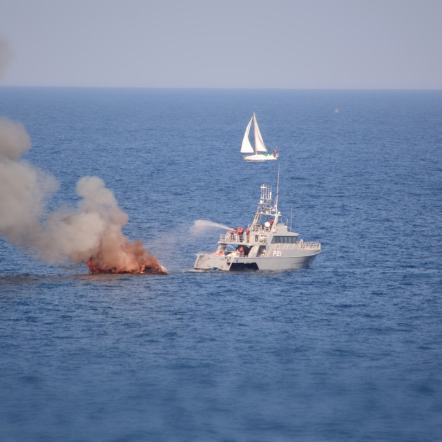 """""""Dramatic footage of a burning yacht"""" stock image"""
