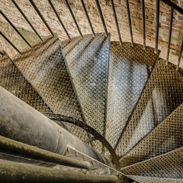 """Spiral metal staircase"" stock image"