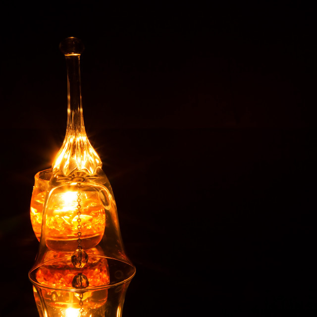 """""""Ornate glass bell isolated on a black background"""" stock image"""