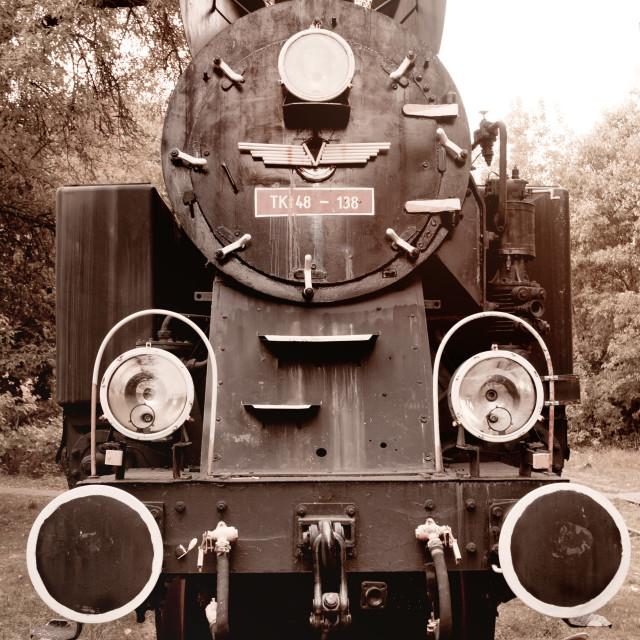 """""""Antique locomotive sepia toned"""" stock image"""