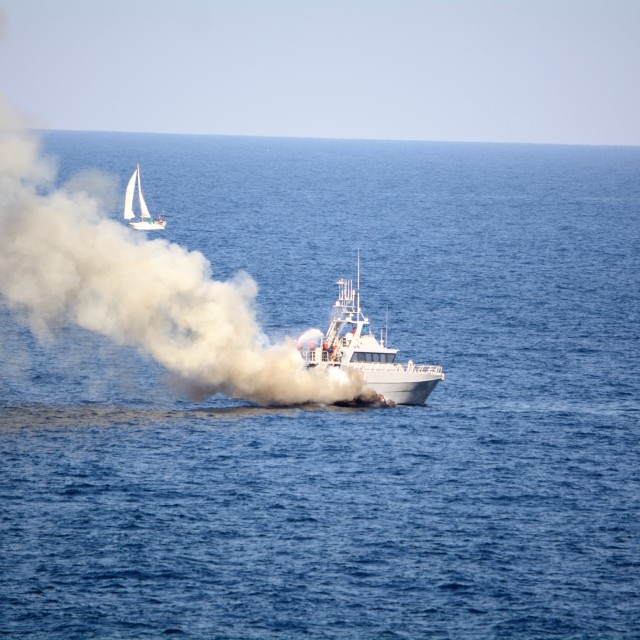 """""""Fire at sea"""" stock image"""