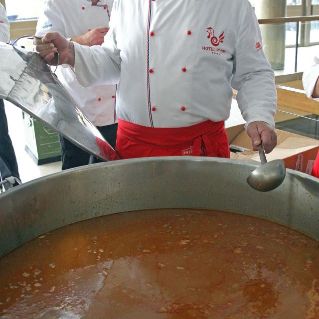 """Hunter's 'cobanac' in a big cauldron, Zagreb 2015. 2"" stock image"