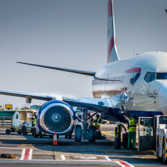 """A jet liner on the tarmac at the airport"" stock image"