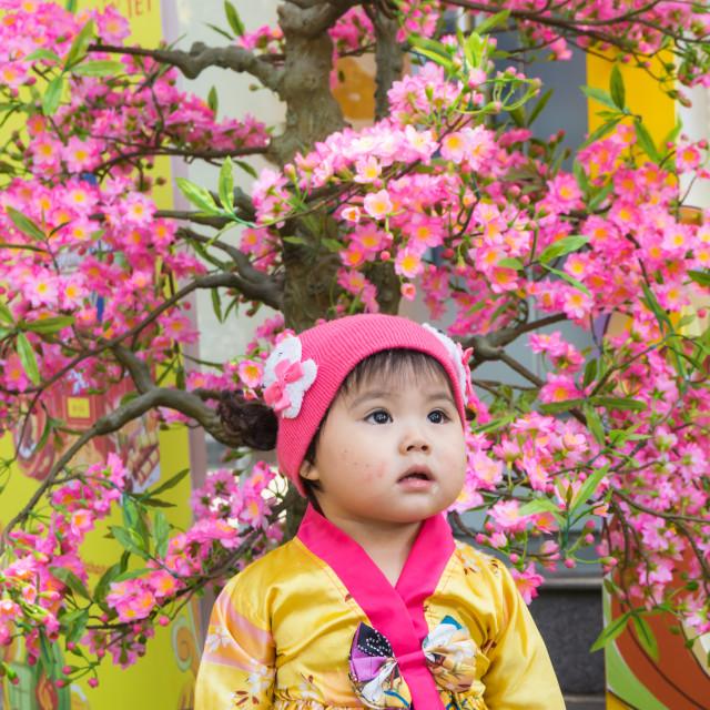 """""""Baby girl and hopeful eyesight"""" stock image"""
