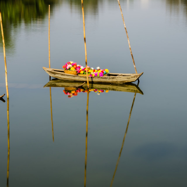 """Boat floating in river"" stock image"