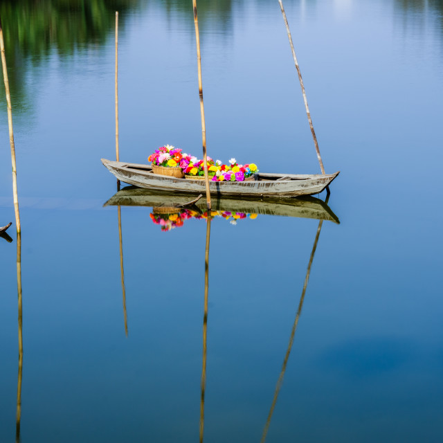 """The boat floating in river"" stock image"