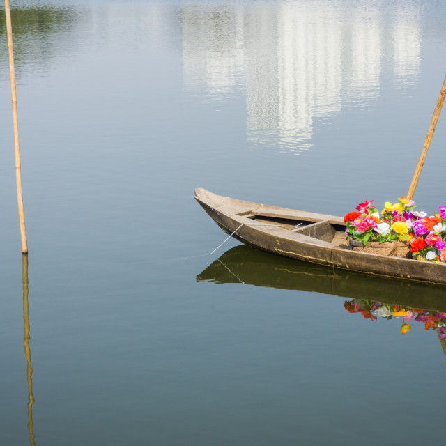 """Boat floating in the river"" stock image"