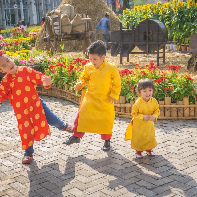 """Children dancing happy laughing"" stock image"