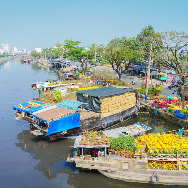 """""""Beautiful canal with flowers boats"""" stock image"""