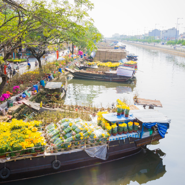 """Landscape of flower boats"" stock image"