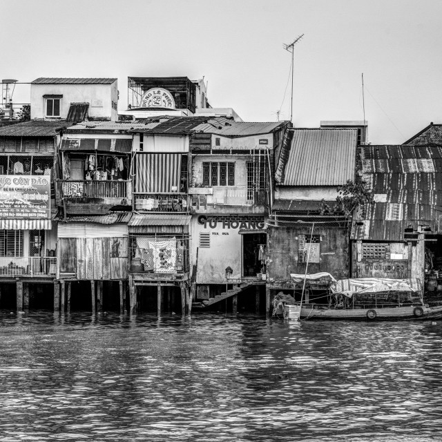 """The houses behind river. B&W"" stock image"