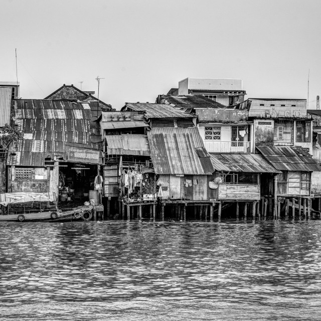 """The houses and the river. B&W"" stock image"