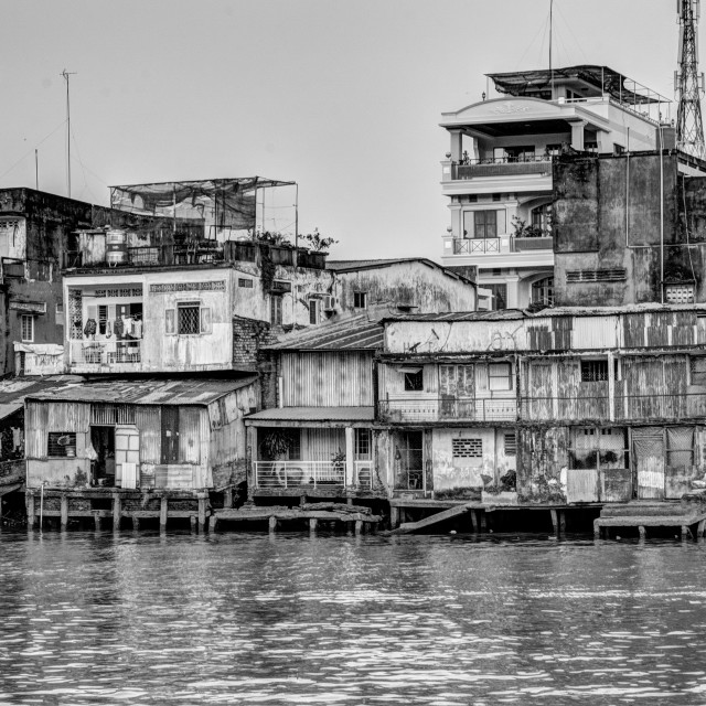 """Houses and river. B&W"" stock image"