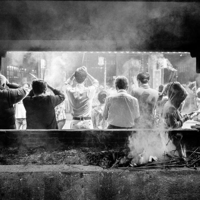 """""""People praying. Black and white"""" stock image"""