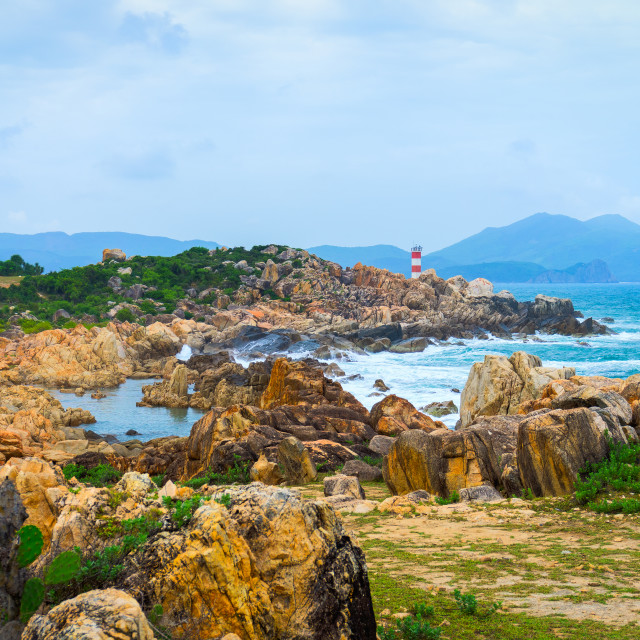 """GanhDen lighthouse coastline"" stock image"