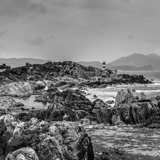"""GanhDen lighthouse coastline. B&W"" stock image"