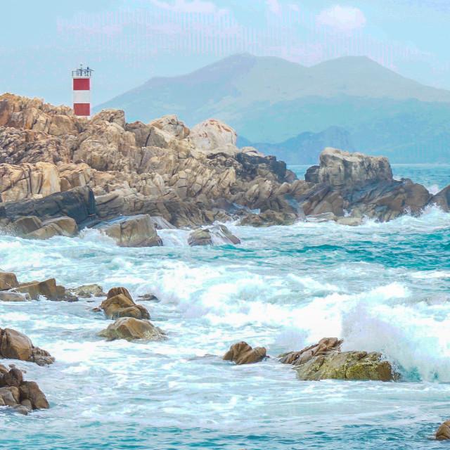 """GanhDen lighthouse. Panorama"" stock image"