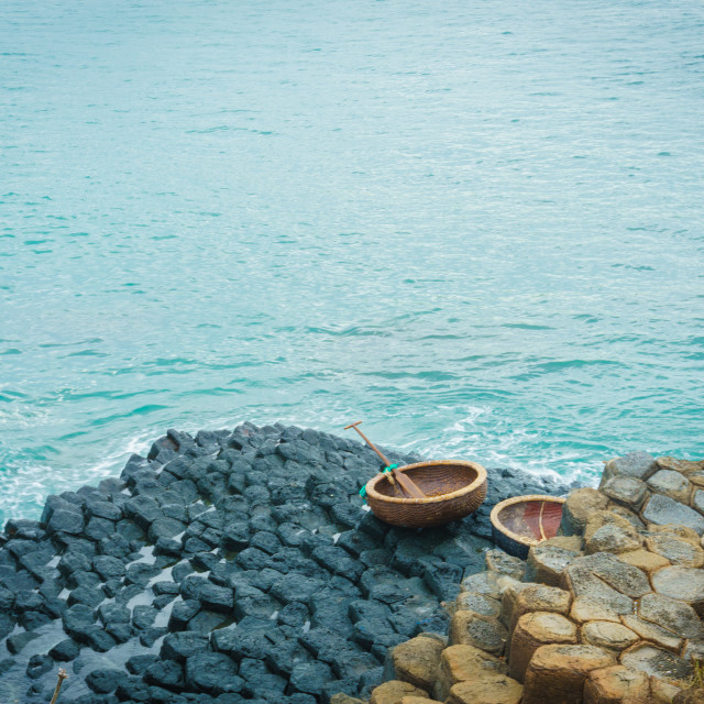 """""""Giant's causeway and coracles"""" stock image"""