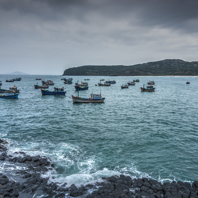 """""""GanhDaDia giant's causeway and fish boats"""" stock image"""