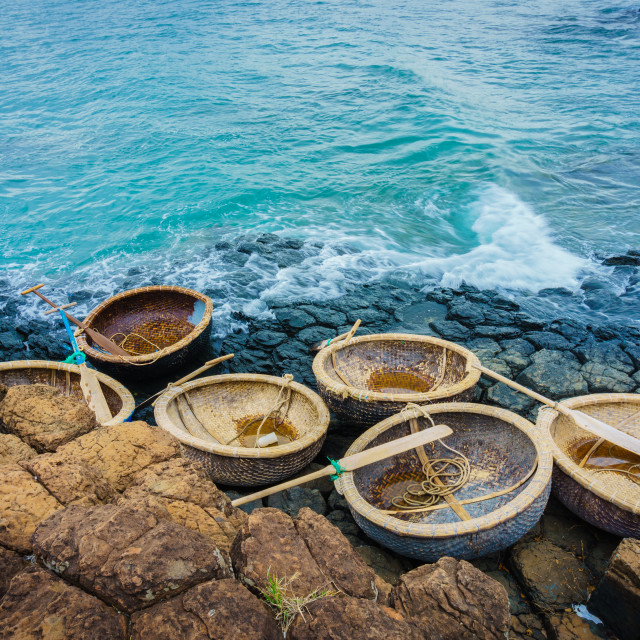 """GanhDaDia giant's causeway and coracles"" stock image"