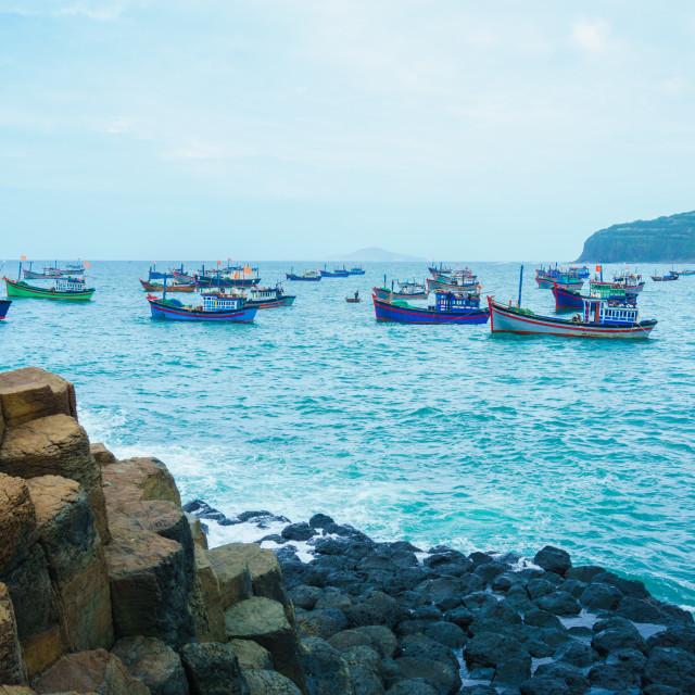 """GanhDaDia giant's causeway and fish ships"" stock image"