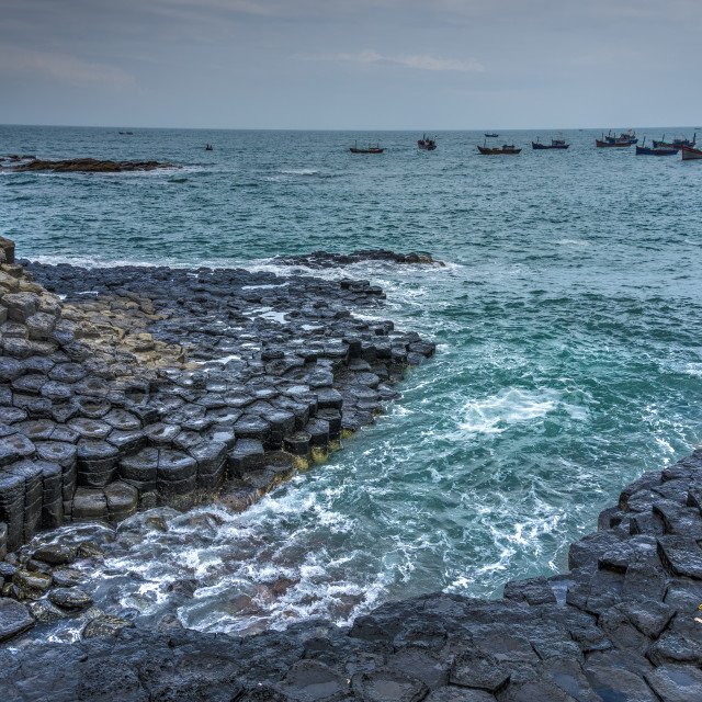 """""""GanhDaDia giant's causeway in cloudy"""" stock image"""