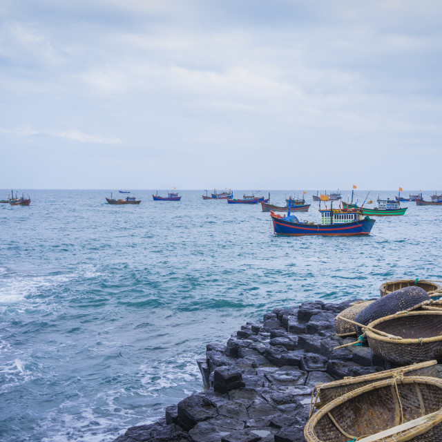 """""""GanhDaDia giant's causeway, boats and coracles"""" stock image"""