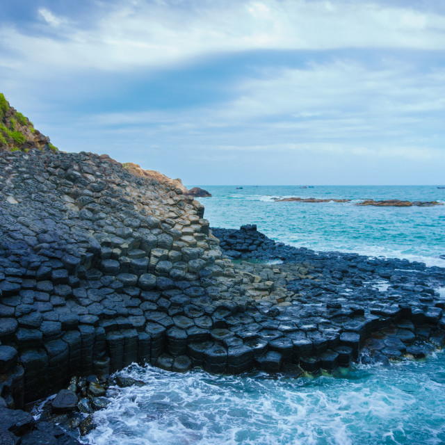 """""""At the famous Giant's Causeway"""" stock image"""