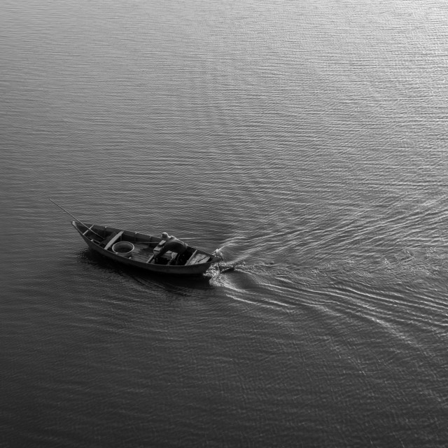 """The boat in the river. B&W"" stock image"