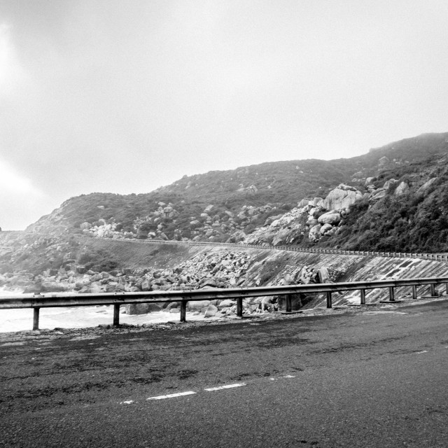 """Road through coast. B&W"" stock image"
