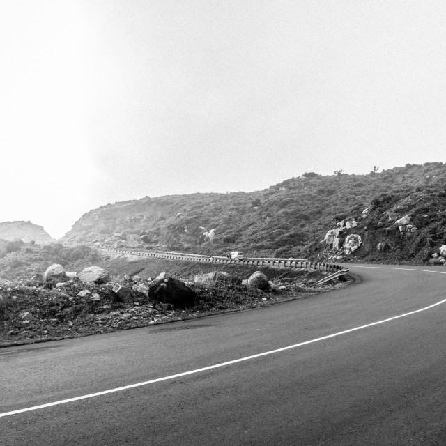 """The road through coast. B&W"" stock image"
