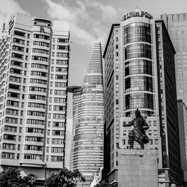 """Business skyscrapers. B&W"" stock image"