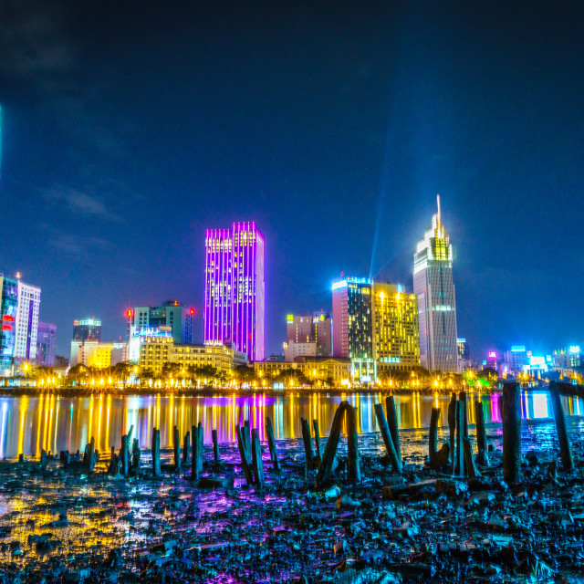 """Ho Chi Minh city in night"" stock image"