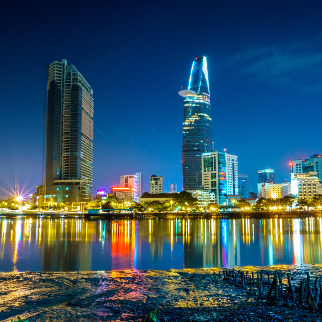 """Sai Gon city in night"" stock image"