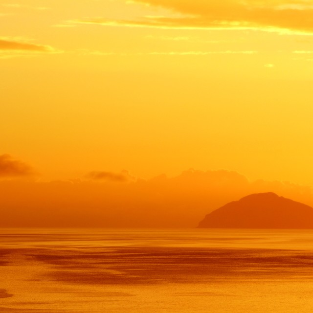 """Ailsa Craig Sunset"" stock image"