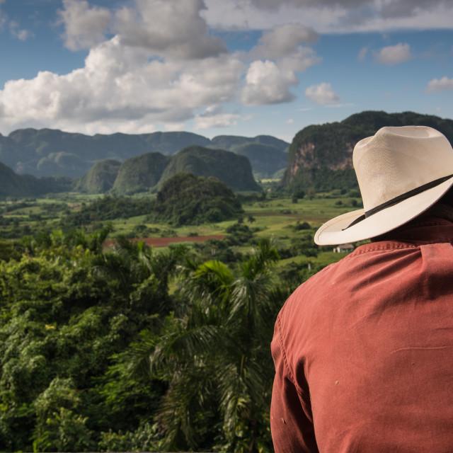 """Cowboy looking over Vinales Valley landscape"" stock image"