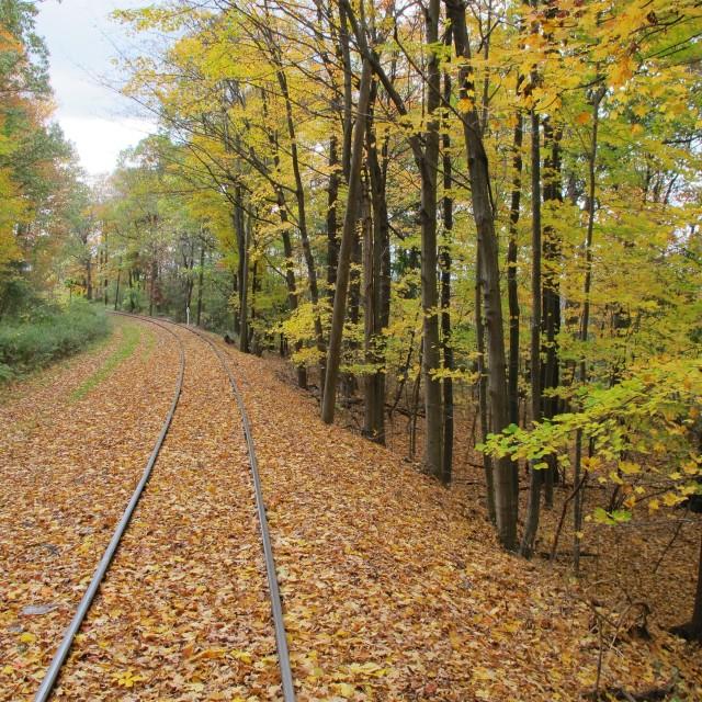 """Fall railway in Upstate New York"" stock image"