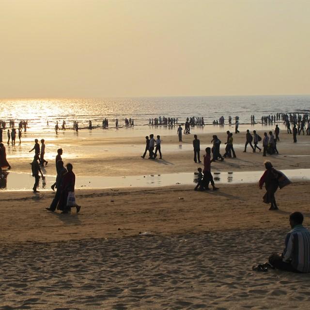 """Ganesh Chaturthi on Juhu Beach, Mumbai"" stock image"