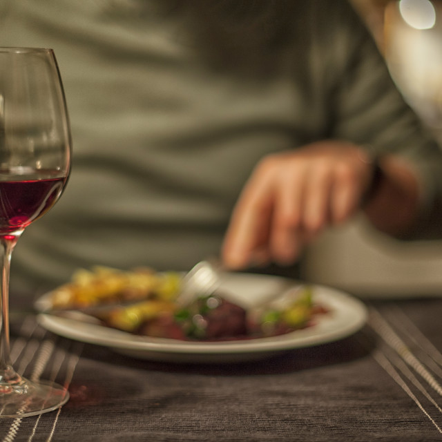 """Dinner for two with wine"" stock image"