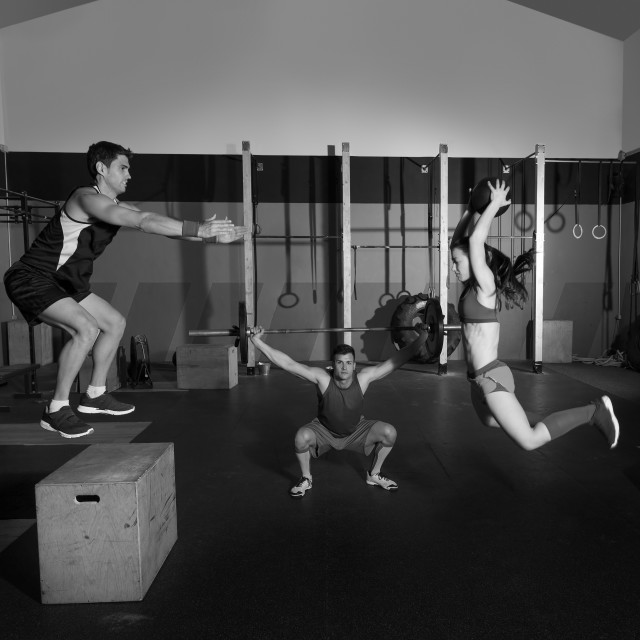 """gym group workout barbells slam balls and jump"" stock image"