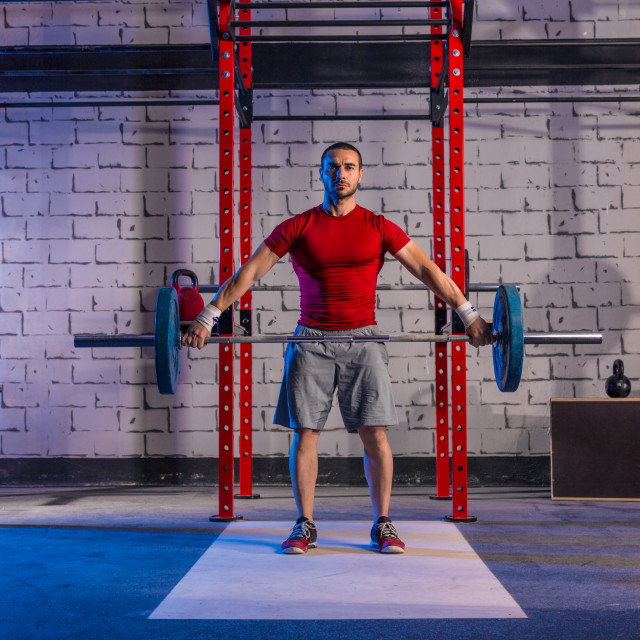 """Barbell weight lifting man weightlifting workout"" stock image"