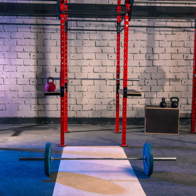 """""""Gym nobody with barbells kettlebells and bars"""" stock image"""