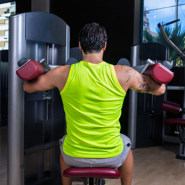 """""""Deltoids fly machine man for shoulders workout"""" stock image"""