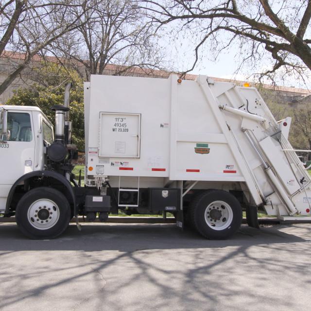 """""""Garbage Truck Rear End Loader Side"""" stock image"""